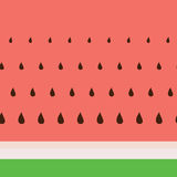 Vector watermelon pattern with black seeds. Royalty Free Stock Photo