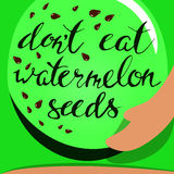 Vector watermelon and seeds. lettering.Pregnancy. Vector watermelon and seeds. Hand draw leterring.Pregnancy Stock Photography