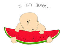 vector watermelon slice & baby Royalty Free Stock Images