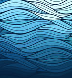 Vector wave background of doodle hand  drawn lines. Abstract vector wave blue background of doodle hand drawn lines Royalty Free Stock Image