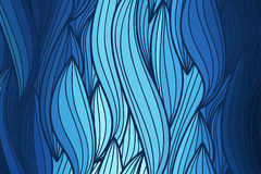 Vector wave background of doodle hand  drawn lines. Abstract vector wave blue background of doodle hand drawn lines. Colorful floral pattern Stock Images