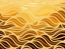 Vector wave background of doodle hand drawn lines. Abstract vector wave gold background of doodle hand drawn lines Royalty Free Stock Photos