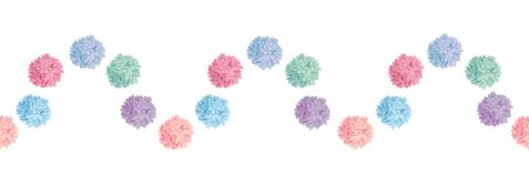 Vector Wave of Pastel Colorful Birthday Party Paper Pom Poms Set Horizontal Seamless Repeat Border Pattern. Great for Stock Images
