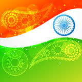 Vector wave style indian flag Stock Photography