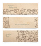 Vector waves ornate banners. Set of three, old parchment or cardboard on white with copy space and transparent shadow stock illustration
