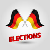 Vector waving triangle two crossed german flags on slanted silver pole - icon of germany and red 3D title elections. Vector waving simple triangle two crossed Stock Photography