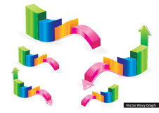Vector Wavy Graph Stock Images