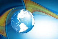 Wavy lines with copy space. Eps10. Vector wavy lines with copy space and globe. eps10 Royalty Free Stock Photo