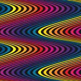 Vector wavy seamless pattern, curved lines, striped background. Vector wavy seamless pattern, curved lines, striped background in rainbow colors on black royalty free illustration