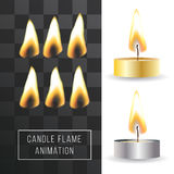 Vector wax candle flame animation on transparent background. Fire light effect. Royalty Free Stock Photography