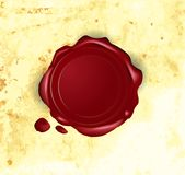 Vector wax seal. On old paper Stock Images