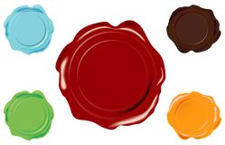 Vector wax seal. 5 color vector wax seal on white background Stock Images
