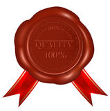 Vector. Wax seal with red ribbons.Quality. Stock Photos