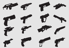 Vector of weapon silhouettes Stock Image