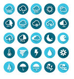 Vector of Weather flat icons set Royalty Free Stock Photography