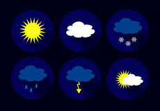 Vector weather flat icons Stock Photo
