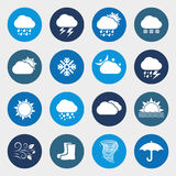 Vector weather forecast icon set. Weather forecast. Set of round icons Stock Photography