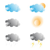 Vector weather forecast icons. Stock Photos