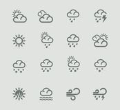 Vector weather forecast pictogram set. Part 1 Stock Image