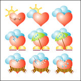 Vector weather hearts Stock Photography