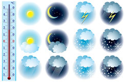 Vector weather icons. And thermometer Stock Images