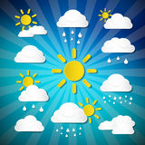 Vector Weather Icons - Clouds, Sun, Rain Stock Photography