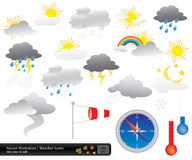 Vector weather icons pack Royalty Free Stock Images
