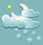 Moon in the clouds with snowflakes Royalty Free Stock Photos