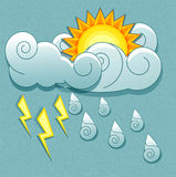 Vector weather icons in retro style. Sun behind th Stock Photo