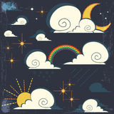Vector weather icons set. Atmospheric phenomena with vintage effects Royalty Free Stock Photo