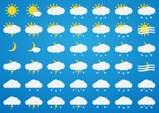 Vector weather icons set on blue background. Stock Photography