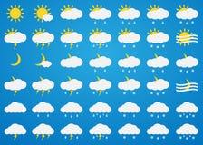 Vector weather icons set on blue background. Sun, clouds, rain, snow, fog, thunder, rainfall and snowfall icons . Day and night weather icons Stock Photography