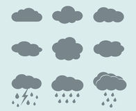 Vector weather icons set. Clouds and rain Stock Photo