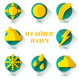 Vector weather set icon. sun flash drop wind. Royalty Free Stock Photos