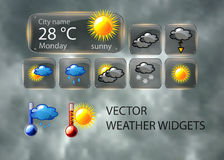 Vector weather widget Royalty Free Stock Photo