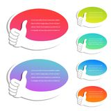 Vector web advertisement labels. Best choice symbol. Business oval bubbles with pointer of hand. Shopping tags with gesture hand. Stock Photos
