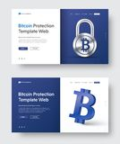 Vector web banner template with padlock and 3d bitcoin icon. Design of header with blue and white elements, text and button. Set Royalty Free Stock Images