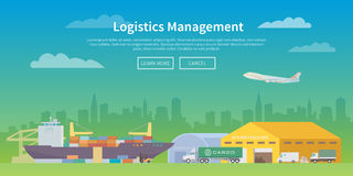 Vector web banner on the theme of Logistics. Royalty Free Stock Images