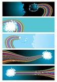 Vector web banners with clouds and rainbow Royalty Free Stock Images