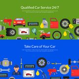 Vector web banners page illustration with flat style car service elements royalty free illustration