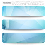 Vector Web Banners. Set of 3 blue vector web banners. Abstract vector polygonal bright background. Vector web buttons. Design vector elements Royalty Free Stock Photos