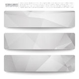 Vector Web Banners. Set of 3 light grey vector web banners. Abstract vector polygonal bright background. Vector web buttons. Design vector elements Royalty Free Stock Images
