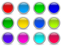 Vector web buttons. Glossy button icon set in 12 colors Royalty Free Stock Images