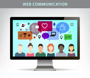 Vector web communication illustration, social net concept. Stock Photo