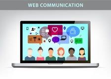 Vector web communication illustration, social net concept. Royalty Free Stock Photo