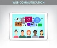 Vector web communication illustration, social net concept. Royalty Free Stock Images