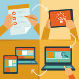 Vector web design process. Icons and illustrations in flat style Stock Image