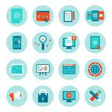 Vector web development and digital marketing icons. In flat style - illustrations and signs on circle background Royalty Free Stock Photography