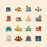 Vector web flat icons set - buildings collection of city design Royalty Free Stock Photo