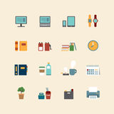 Vector web flat icons set - business office tools collection of Stock Images